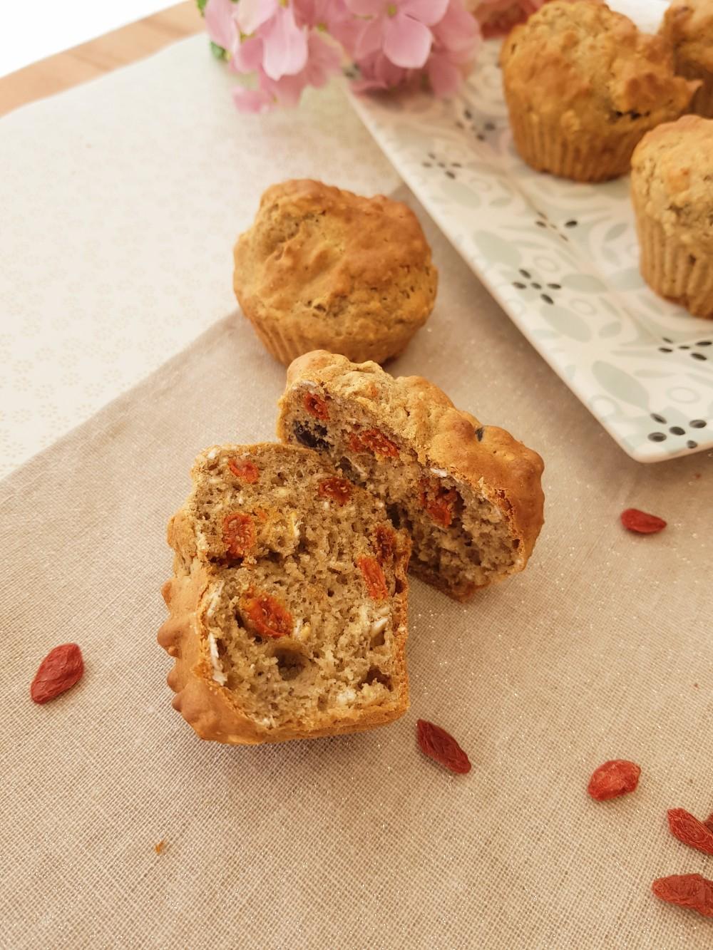 Muffins flocons d'avoine Cranberry et baie de goji