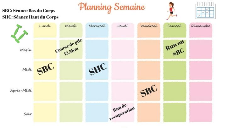 Planning de sport pour la Semaine 18