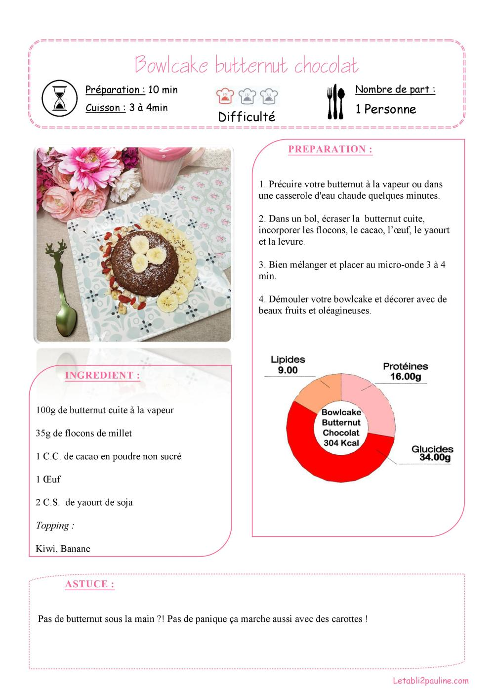 Fiche recette simple Bowlcake butternut chocolat