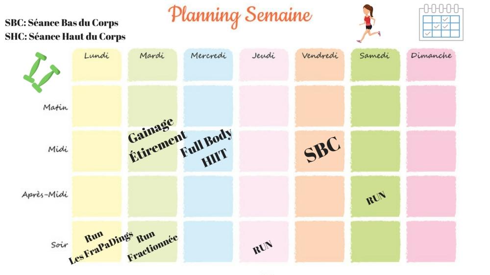 Planning de sport de la semaine S-28