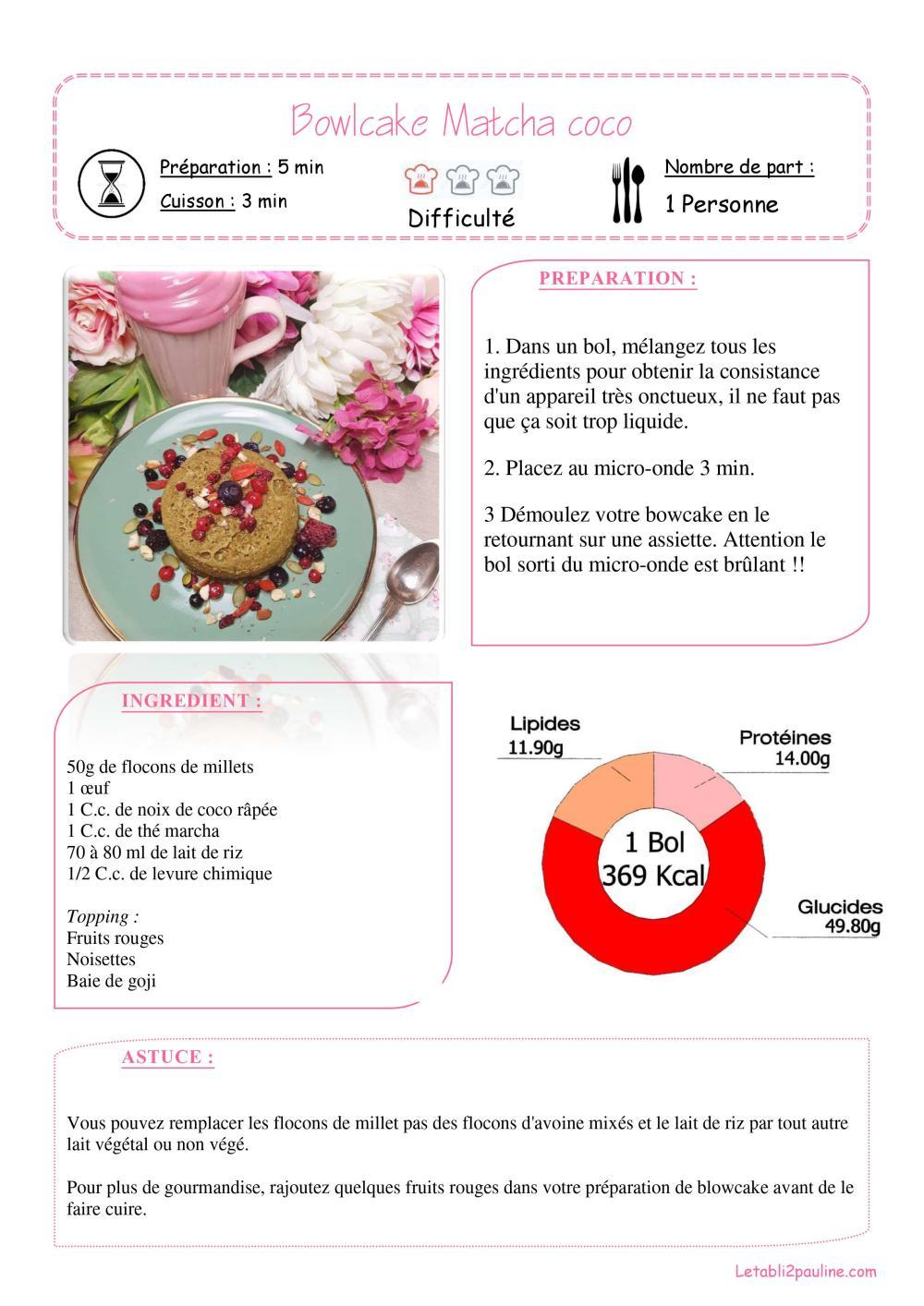Fiche recette Bowlcake matcha coco