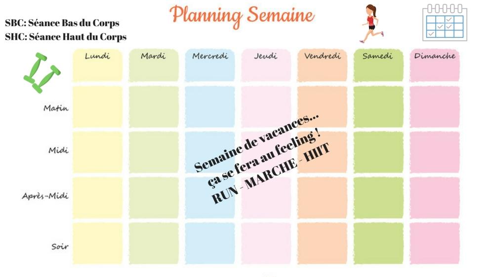 Planning de la semaine de vacances 33