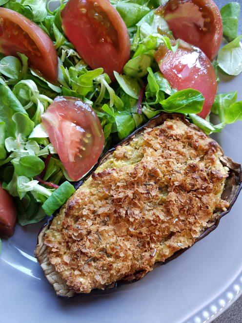 Fiche recette Aubergine farcie sans gluten et végétarien
