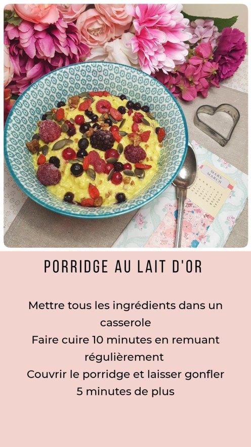 Porridge au lait d'or et fruits rouges