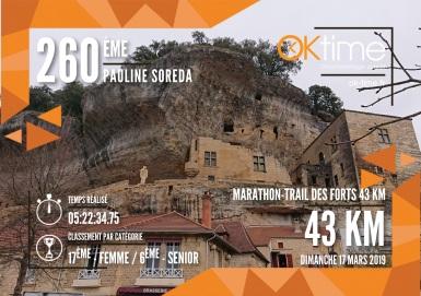 Résultat Pauline SOREDA - MARATHON DES FORTS 2019 (Marathon-Trail des Forts 43 KM)