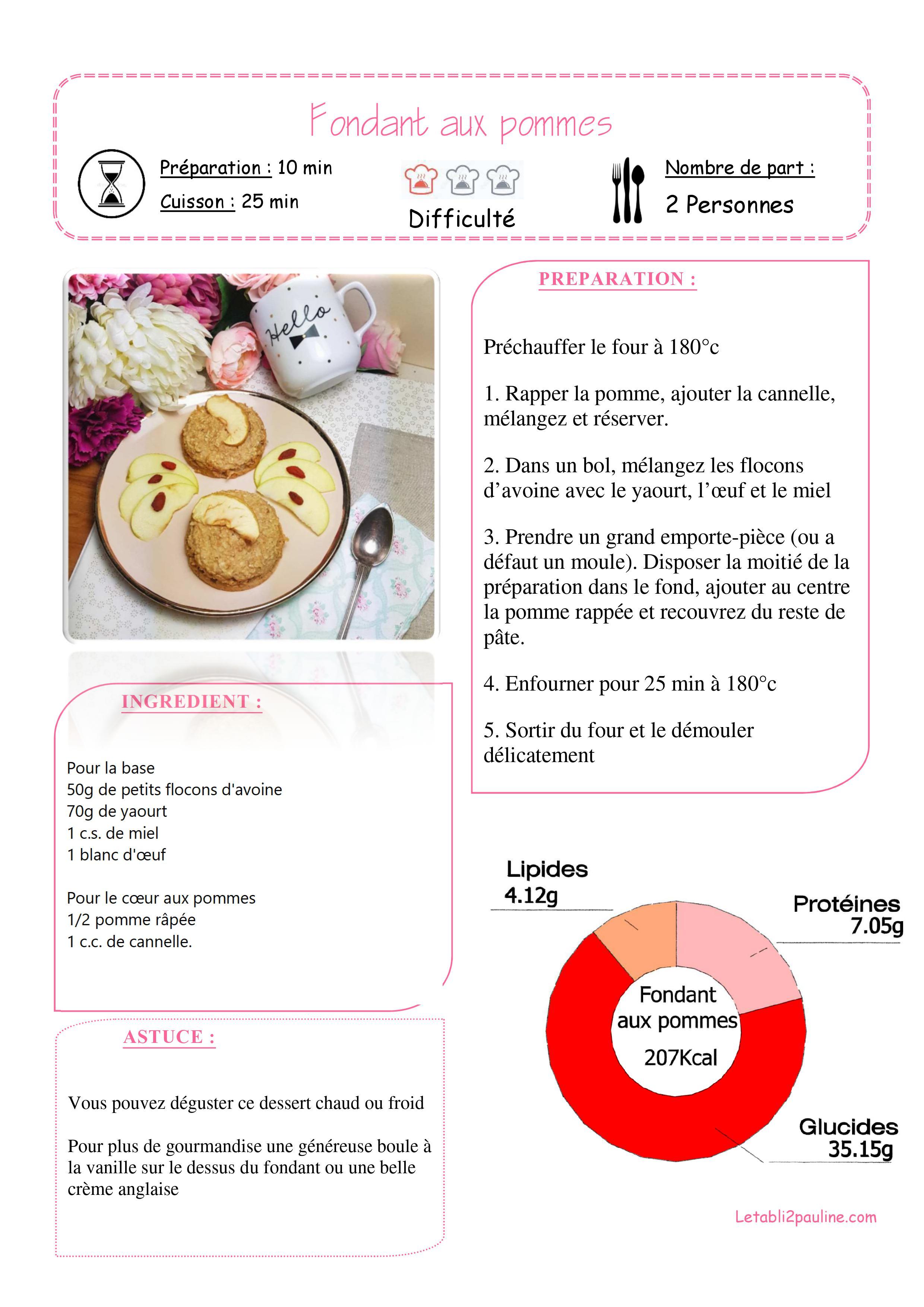 Fiche recette Fondant aux pommes